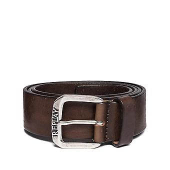 Replay Men's Leather Fade Vintage Belt With Square Buckle