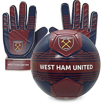 West Ham United FC Junior Gift Set Size 4 Football & Goalkeeper Goalie Gloves