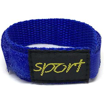 Velcro watch strap blue nylon with fabric sports badge 14mm