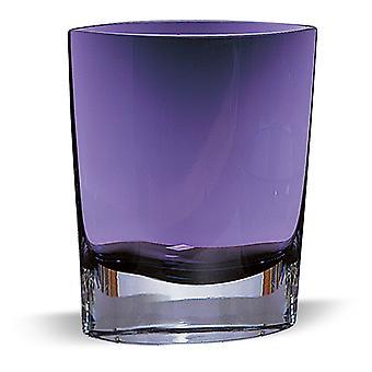 "8"" Mouth Blown Glass European Made Violet Pocket Shaped Vase"