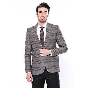 Slim-fit brown checked blazer