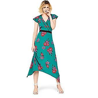 Encontrar. Standard Women's Midi Floral Wrap Dress, Verde, EU XL (EE.UU. 12-14)