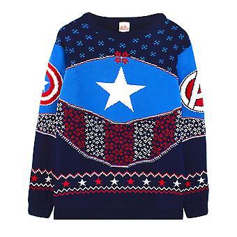 Marvel Captain America Jouluhyppääjä Kilpi Sininen /Punainen Neulottu Villapaita