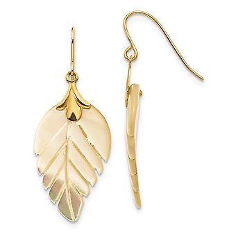 14k Yellow Gold Polished Shepherd hook Simulated Mother of Pearl Leaf Long Drop Dangle Earrings Measures 32x12mm Jewelry
