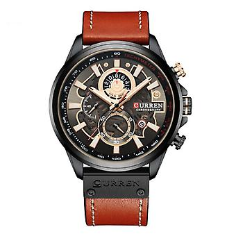 Curren Anologue Watch - Leather Strap Luxury Quartz Movement for Men - Stainless Steel - Orange-Black