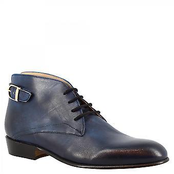 Leonardo Schuhe Frauen's handgemachte Schnürstiefel Stiefeletten aus blauem Ziegenleder mit Seitenschnalle