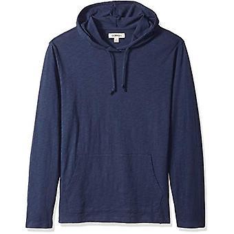 Goodthreads Men's Lightweight Slub T-Shirt Hoodie, Navy, Medium