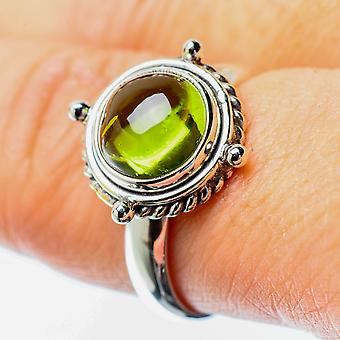 Peridot Ring Size 8.5 (925 Sterling Silver)  - Handmade Boho Vintage Jewelry RING25702