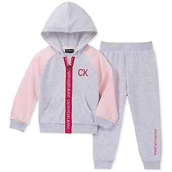 Calvin Klein Kids & Baby Baby Girls 2 Pieces Jog Set, Storm Cloud HEA, 18m