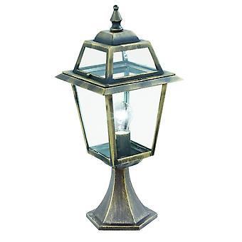 1 Light Outdoor Pedestal Lantern Black, Gold IP44, E27