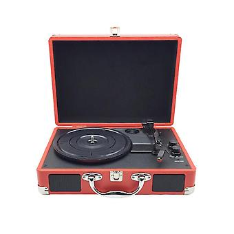 Vintage 33/45/78 Rpm Bluetooth Portable Suitcase Turntable Vinyl Lp Record Phone Player 3-speed Aux-in Line-out