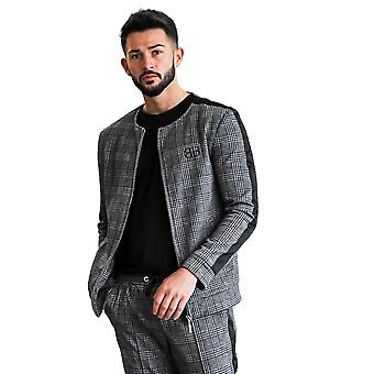 Belier Paris Killian Check Bomber Jacket Dark Grey