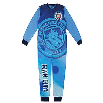 Manchester City FC Ufficiale Gift Boys Ragazzi Fleece All-In-One Pigiama