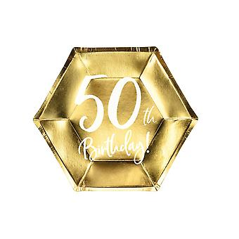 Gold 50th Birthday Party Farfurii De Hârtie Partyware 20cm x 6
