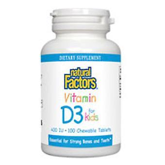 Natural Factors Vitamin D3 for Kids, 400 IU, 100 Chewable Tablets