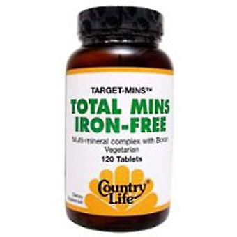 Country Life Iron Free Total Mins Target-Mins, 120 Tabs