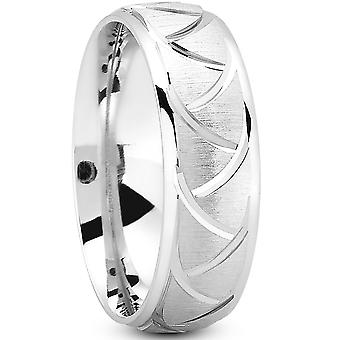 7MM Mens Swiss Cut Brushed Comfort Fit Wedding Band 14k Bianco Giallo Rosa Oro