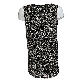 Cuddl Duds Women's Top Floral Flexwear V-neck Tank Black A302779