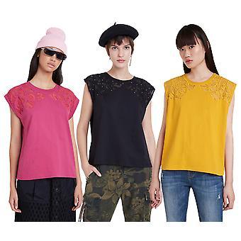Desigual Lisboa Lace Panel Studded T-shirt 20WWTK50