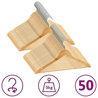 vidaXL 50 pcs. hanger set slip-proof hardwood