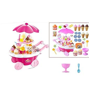 39 Pcs Simulation Small Carts House Game Ice Cream Shop Supermarket Barbecue
