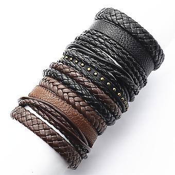 Weave Wrap Leather, Men Bracelets Bangles, Male Jewelry
