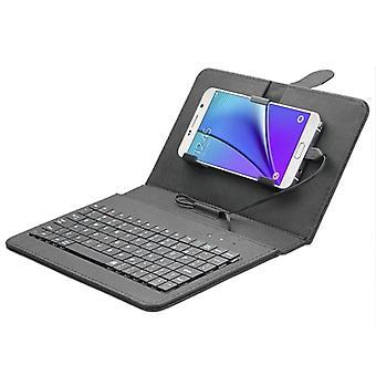 ENKAY 80-مفاتيح السلكية لوحة المفاتيح حقيبة واقية من الجلد مع حامل لالروبوت اللوحي / الروبوت الهاتف المحمول (أسود)