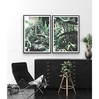 In The Hothouse - Two Piece Tropical Palm Photographic Wall Art