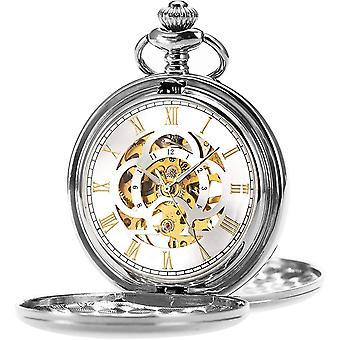 ManChDa Mens Pocket Watch Classic Mechanical Hand-Wind Pocket Watch