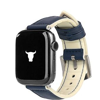 TORRO Leather watch strap compatible with Apple Watch with brushed silver connector and buckle