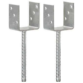 Pfostenträger 2 Stk. Silbern 9×6×30 cm Verzinkter Stahl