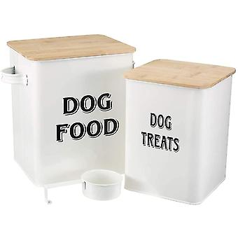 Pet Food and Treats Containers Set with Scoop for Cats or Dogs - Beige Powder-Coated Carbon Steel
