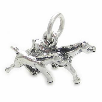 Horse With Foal Sterling Silver Charm .925 X 1 Horses Charms - 3535
