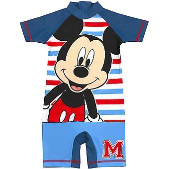 Disney Mickey Mouse Sunsafe Mayo Boys | için Çocuk Kısa Kollu Mavi ve Çizgili Yüzme | Disney Hediye
