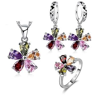 Fashion Woman 925 Sterling Silver Bijuterii Set