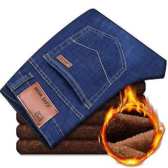 Atividades masculinas jeans quentes, outono, inverno, rebanho quente macio jean