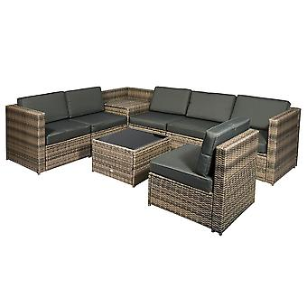 Outsunny 8 pcs Rattan Garden Furniture Patio Sofa and Table Set with Cushions 6 Seater Corner Wicker Seat Mixed Brown