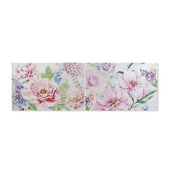 Maleri Dekodonia Blomster Flerfarget (2 stk) (120 x 3 x 80 cm)