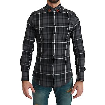 Camisa GREY Plaid Casual Cotton MARTINI