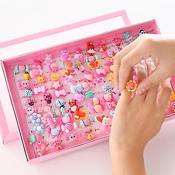 Children's Cartoon Rings Candy Flower Animal Bow Shape Ring Set Mix Finger Kid