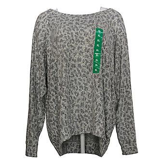 Buffalo Women's Top Printed Cozy Crew Neck Relaxed Fit Gray