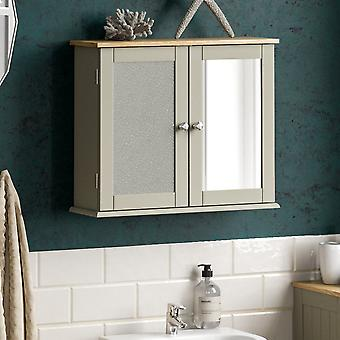 Priano 2 Door Mirrored Wall Mounted Cabinet, Grey