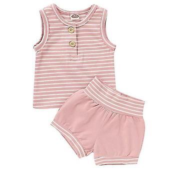 Bottenväst+ randiga shorts ärmlösa småbarn kläder kostym
