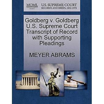 Goldberg V. Goldberg U.S. Supreme Court Transcript of Record with Sup