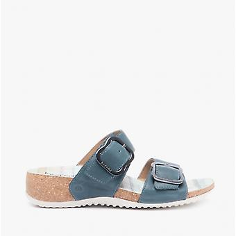 Josef Seibel Natalya 15 Ladies Leather Mule Sandals Bleu Azur