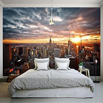 3d مدينة نيويورك غروب الشمس المناظر الطبيعية صورة جدارية خلفية ديكور المنزل