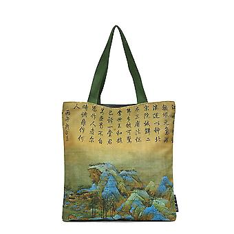 Canvas Shopping Bag Rivers Mountains Reusable Grocery Tote Handbag