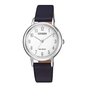 Kobieta zegarek CITIZEN MONTRES EM0571-16A - Czarna bransoletka skórzana
