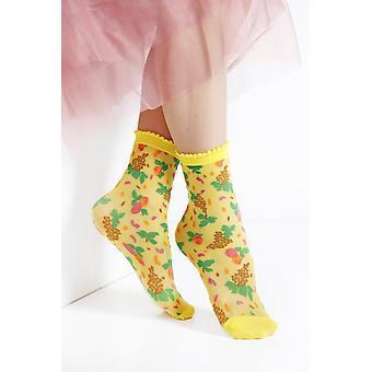 Micol Sheer Yellow Socks