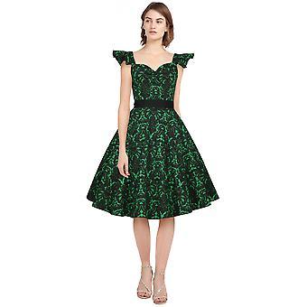 Chic Star Plus Size flæse ærme retro kjole i grøn / blomstermotiver